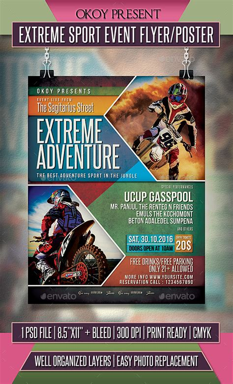 Extreme Sport Event Flyer Poster By Okoy Graphicriver Sports Flyer Templates