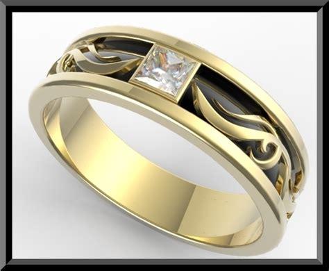 Mens 2 Tone Gold Wedding Ring   Vidar Jewelry   Unique