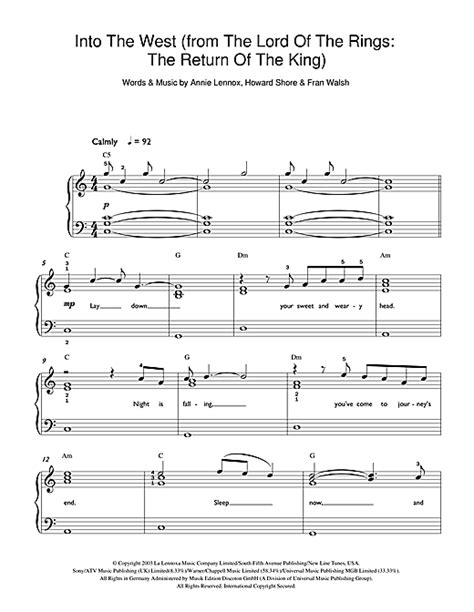 tutorial piano lord of the rings into the west from lord of the rings the return of the