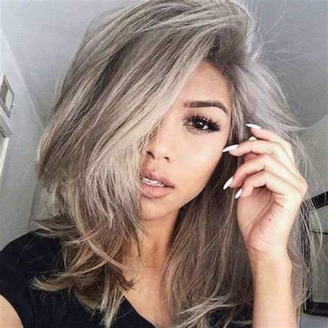 med hair woth gray n blonde cheveux blond gris
