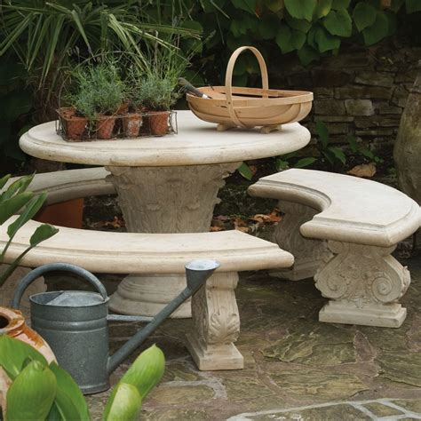 stone bench and table stone round table with three curved benches stonework