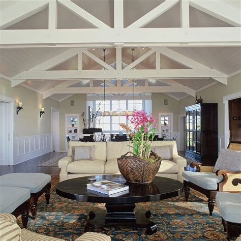beach style ceiling open truss ceiling living room beach style with wood beams