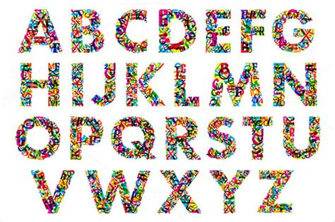 colorful letters 16 alphabet letters psd vector eps free
