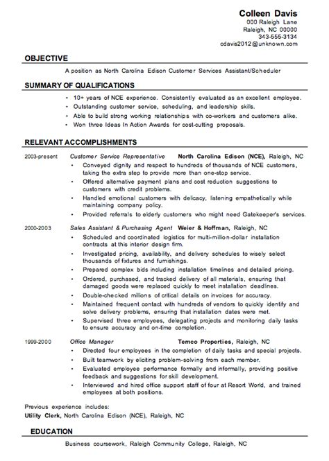 Exles Of Resumes For Customer Service by Resume Sle Customer Services Assistant