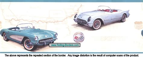 corvette wallpaper border 1953 1957 route 66 chevy corvette car wallpaper border ebay