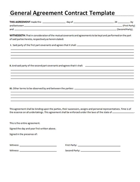 contract agreement templates sle general agreement contract general agreement