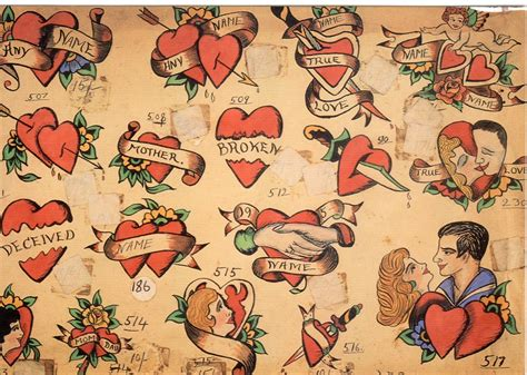 vintage heart tattoo designs vintage flash work the tattooed tales of
