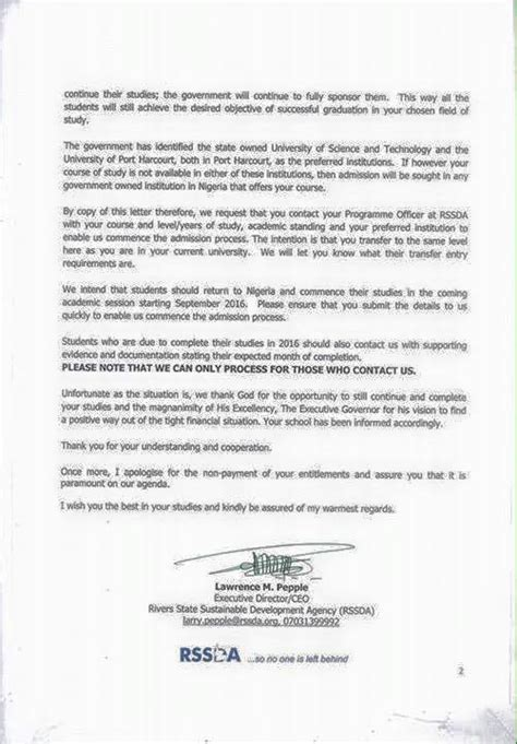 Scholarship Withdrawal Letter Rivers Governor To Withdraw Students On Scholarship Abroad Due To Financial Crisis