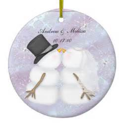kissing snowmen married our first christmas ornament zazzle