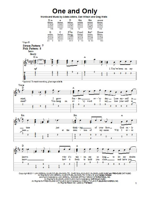 guitar chords for adele best for last adele one and only sheet music
