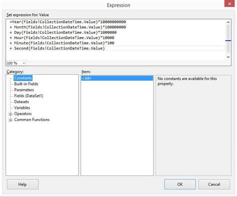 format date reportviewer sql server reporting services expression builder to