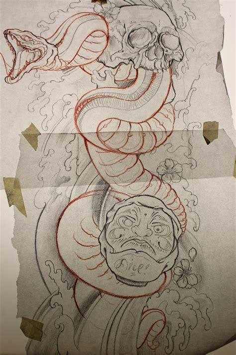 tattoo flash bank peace and love snake skull daruma design coming up painting