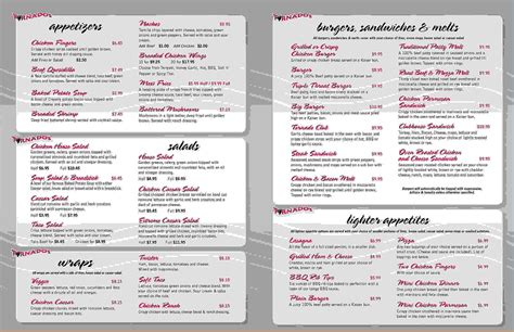 menu template pages 4 printable restaurant menus procedure template sle