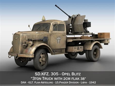 opel blitz with flak 38 opel blitz with 2cm flak 38 dak 3d model cgtrader