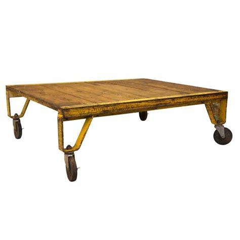 american vintage industrial wheeled cart coffee table
