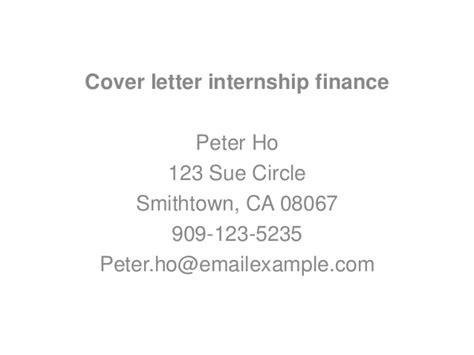 Finance Cover Letter Exles For Internships Cover Letter Internship Finance