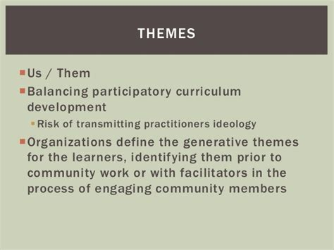 theme transformation definition participatory pedagogy in discourse of practice applying