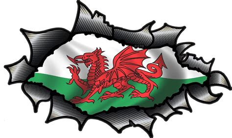 Vinyl Wall Stickers Uk ripped torn carbon fibre fiber design with welsh dragon