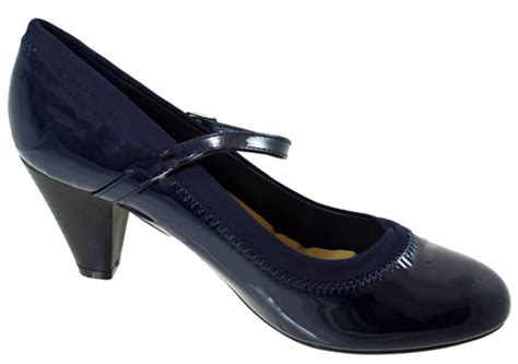womens mid heel navy black court work dress shoes size uk 3 8 ebay
