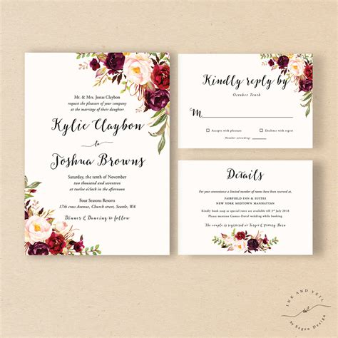 wedding invitations bohemian wedding invitation suite fall wedding invitation