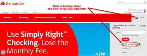 reset my online banking santander santander bank online banking login cc bank