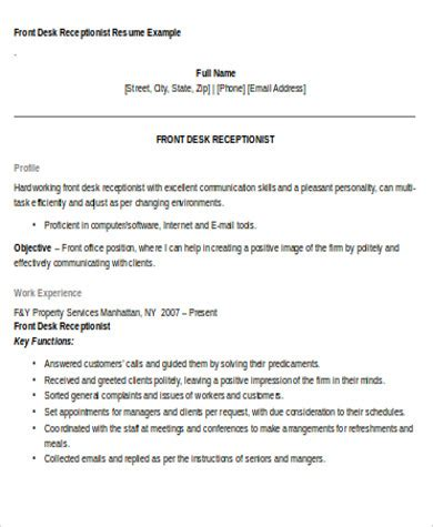 receptionist resume objective 7 examples in word pdf