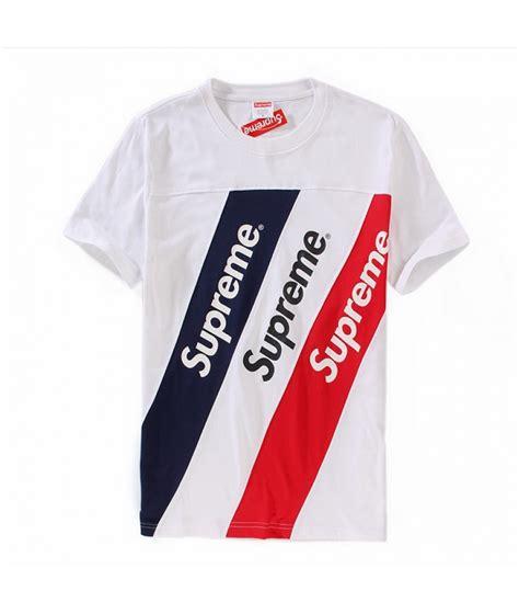 T Shirt Supreme 0 2 White Broy supreme quot multicolor stripes crewneck quot t shirt white