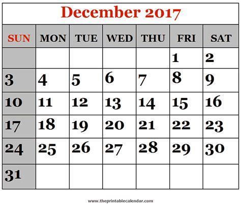 december 2017 printable calendars