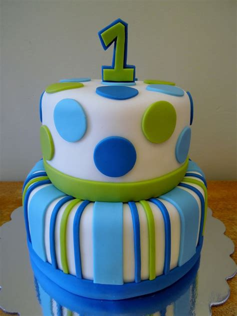 stripes dots boys st birthday  tier vanilla cake  vanilla buttercream covered