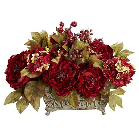 silk flower arrangements 18 quot peony hydrangea silk flower arrangement red