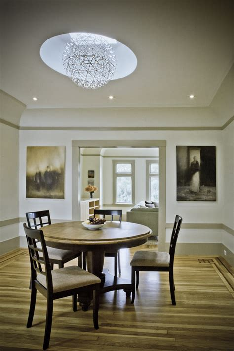 orb light fixture dining room traditional with artwork