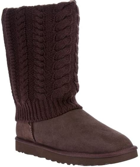ugg boots knit ugg cable knit knee length boot in brown lyst
