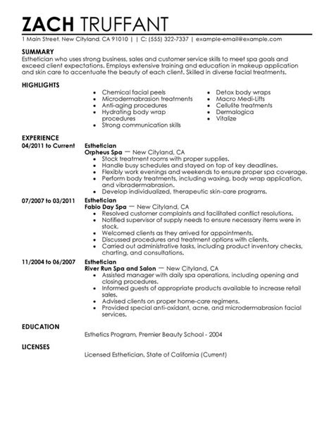 esthetician resume sle my perfect resume