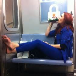 New York Platform Bed - nothing like lettin loose on the subway and holy look at her feet subwaycreatures