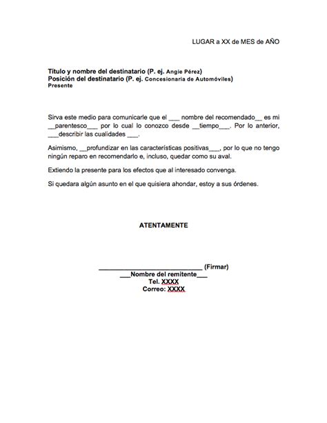 modelo carta recomendacion personal 2 formato de carta de recomendaci 243 n familiar milformatos com