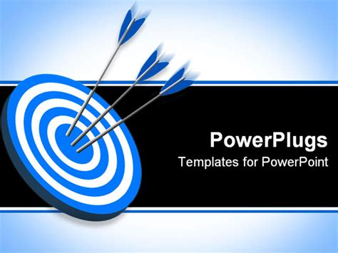 Powerpoint Template Three Yellow Darts Shot At The Center Of A Blue Dart Board 28448 Target Powerpoint Template