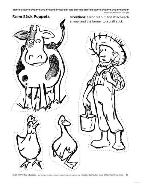 Click Clack Moo Doreen Cronin Farm Stick Puppets Click Clack Moo Coloring Pages