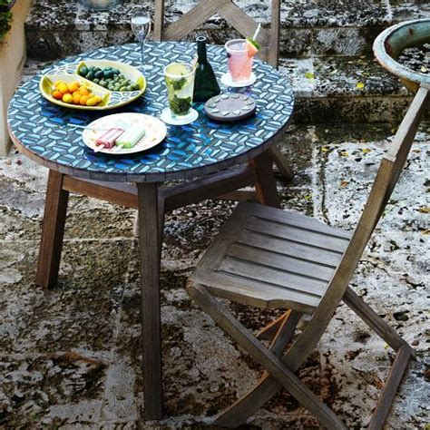 West Elm Bistro Table by Mosaic Tiled Bistro Table In Indigo From West Elm