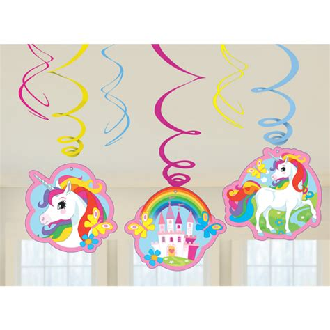 unicorn decorations 6 x unicorn hanging swirls birthday decorations