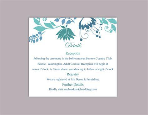 wedding details card template diy wedding details card template editable word file