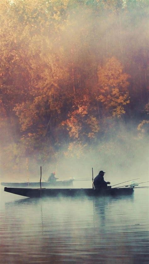 fishing boat foggy lake autumn landscape iphone