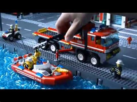 lego boat and truck lego city 7213 off road fire truck fireboat youtube