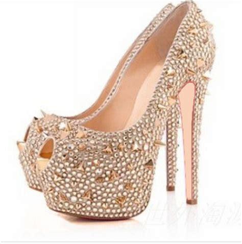 high heel pumps size 12 stylish peep toe gold spike wedding shoes high heel