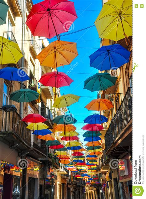 X2 3746 St Umbrella antique decorated with bright umbrellas editorial stock photo image of europe