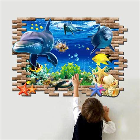 aquarium wall stickers large reality 3d dolphin wall stickers aquarium sea world