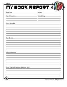 school book template free printable book report forms for elementary and middle