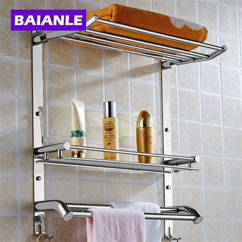 home design wall baskets for bath towel storage home wall mount stainless steel 2 layers storage basket shower