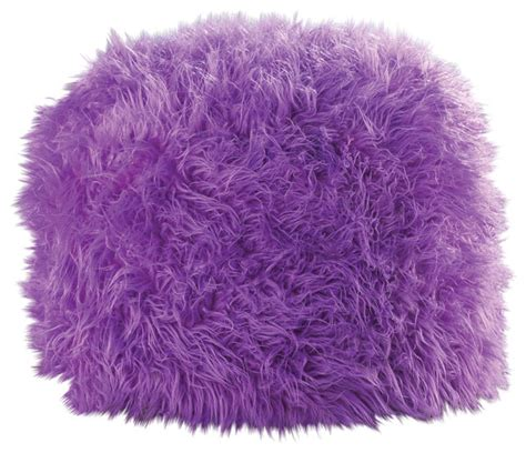 Fluffy Pouf Ottoman Fuzzy Polyester Ottoman Pouf Orchid Eclectic Floor Pillows And Poufs By Koolekoo