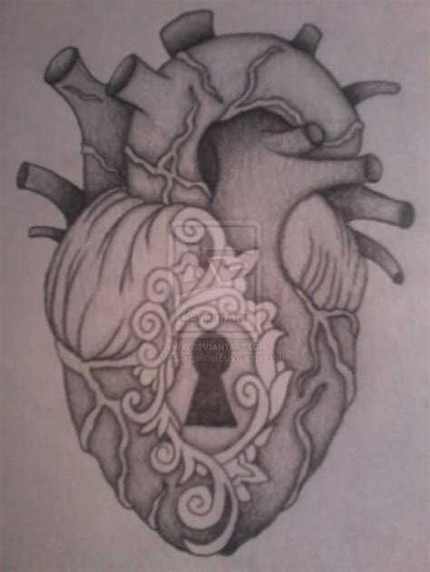 realistic heart tattoo designs amazing key in real design by miss