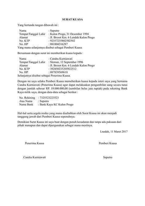 contoh surat kuasa pengambilan uang di bank yang baik